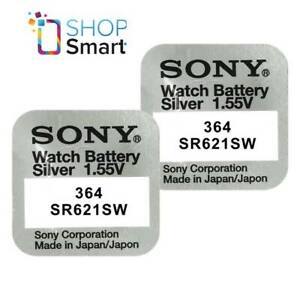 2-SONY-364-SR621SW-BATTERIES-SILVER-OXIDE-1-55V-WATCH-BATTERY-EXP-2021-NEW