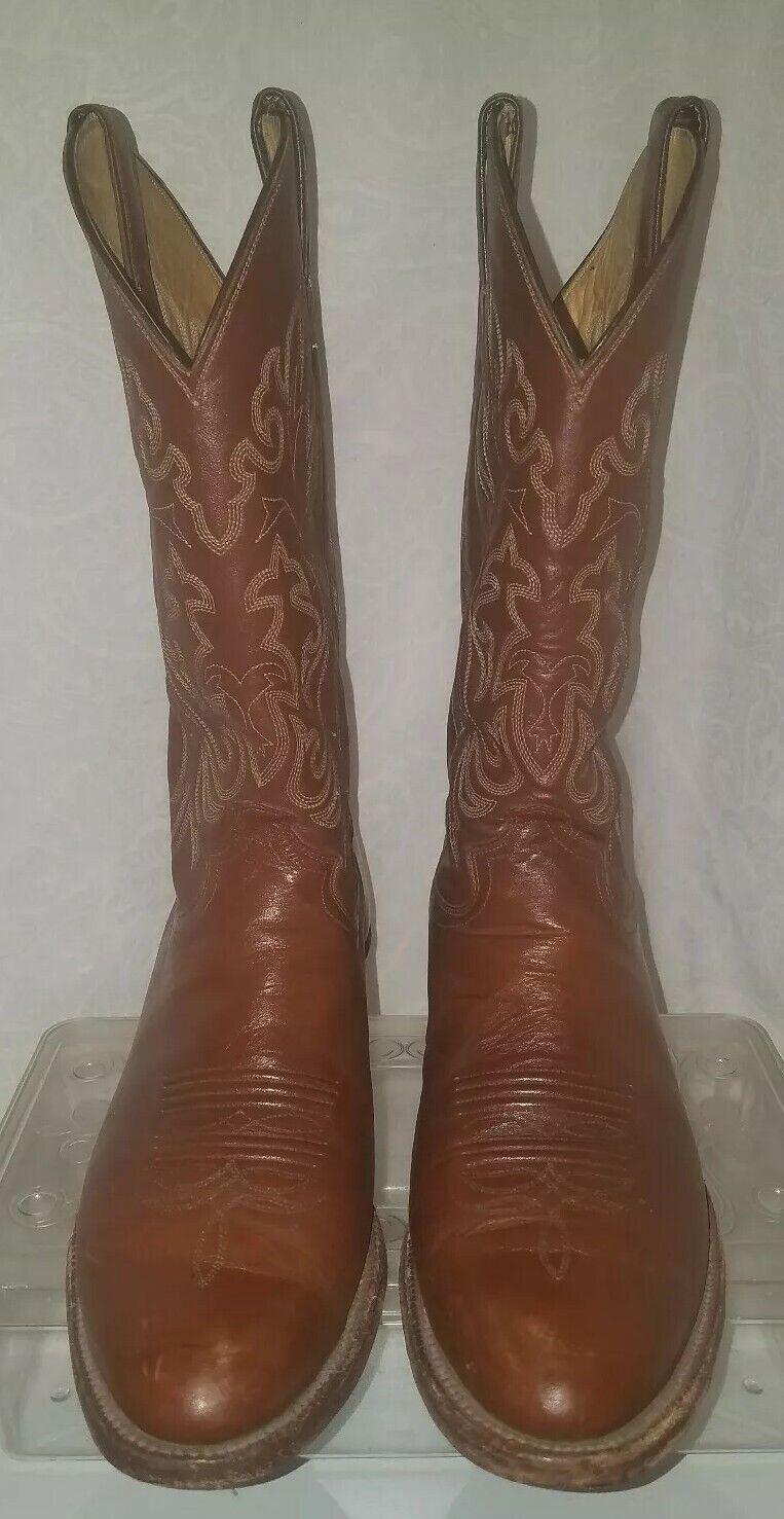Vintage Justin homme en cuir marron western cowboy bottes sz 9-1 2 D Made in USA  2545
