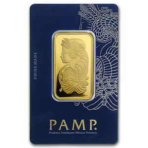 1 oz Pamp Suisse Lady Fortuna Gold Bar .9999 Fine in Veriscan Assay Card