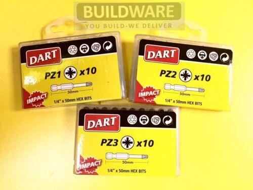 Dart Impact Trox Driver Bits Anti Slip PZ 25mm /& 50mm