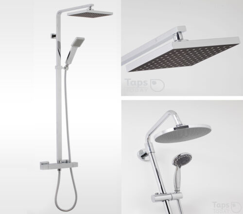 1 X FIXED HEAD.1 X MOBILE SPRAY. ROUND or SQUARE THERMOSTATIC RAIN SHOWER POLE
