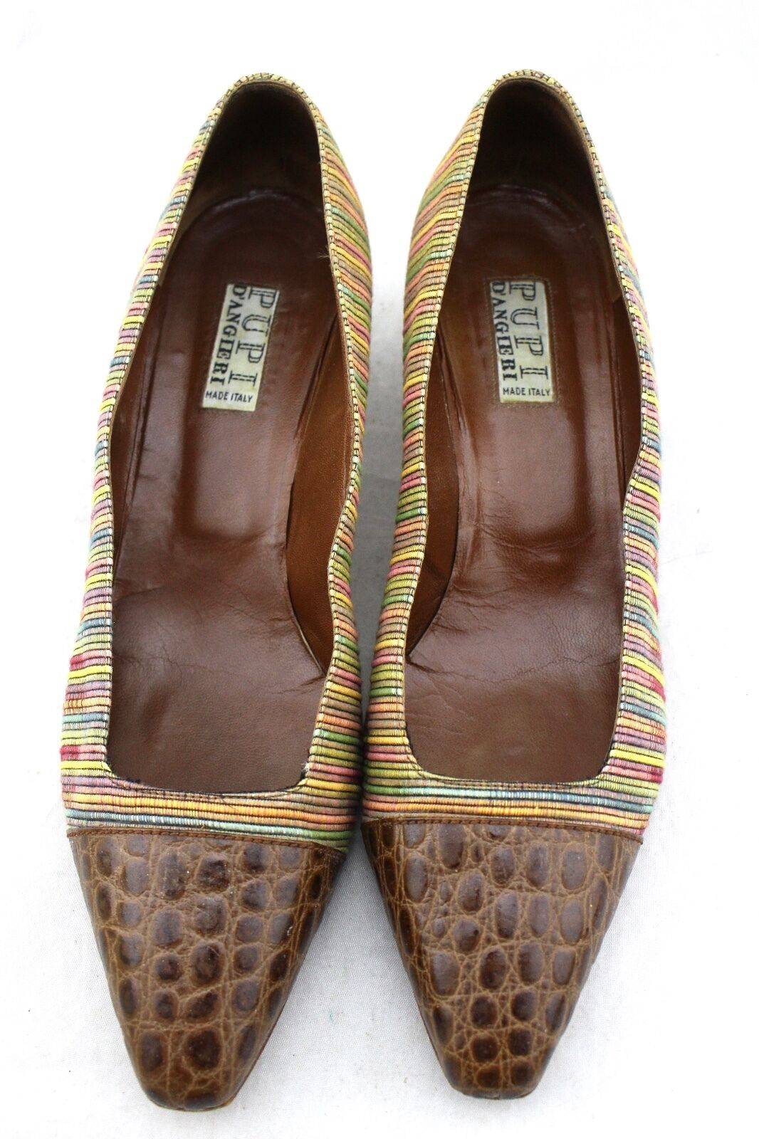 215 PUPI D'ANGIERI Vintage braun braun braun Croc Leather Multi-Farbe Stripe Fabric Pumps 4df626
