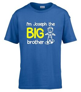Personalised I'm The Big Brother Boys T-Shirt 1-14 Yrs Funny Custom Gift Present