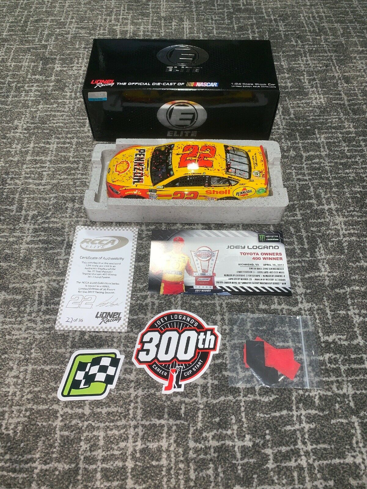 2017 Joey Logano Shell Pennzoil Richmond Raced Win Elite One Of Only 36 Made