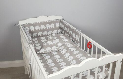 3 pc GREY COT//COT BED BABY BEDDING SET bumper quilt pillowcase STARS ELEPHANTS