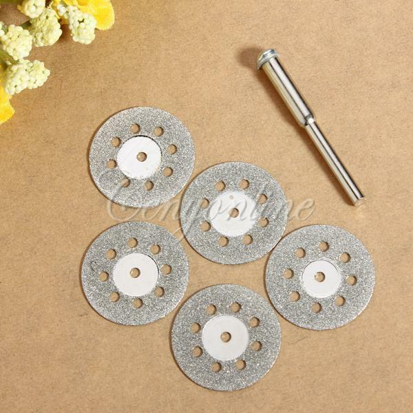5X 22mm Small Diamond Cutting Discs + Mandrel Bit for Dreml Drill Rotary Jewelry