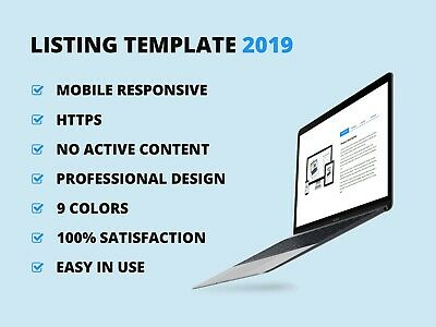 Ebay Template Listing Professional Auction Design Responsive Mobile Html 2020 Ebay