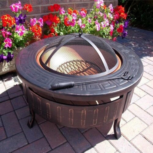 BBQ Fire Pit Barbecue Grill Table Patio Outdoor Garden Log Burner Portable Steel