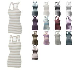 FashionOutfit-Women-039-s-Ribbed-Racer-Back-Wide-Stripe-Tank-Top-ONLY-4-99