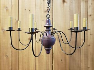 Details About Period Lighting Fixtures C131 8 Chandelier Primitive Colonial Cranberry Finish