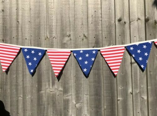 7.5x6in 2.50m FABRIC RED AND BLUE AMERICA THEMED BUNTING 10 DOUBLE FACED FLAGS