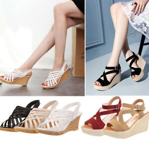 Women-039-s-Caged-Peep-Toe-High-Platform-Wedge-Sandal-Shoes-Size-New-Summer-Wear