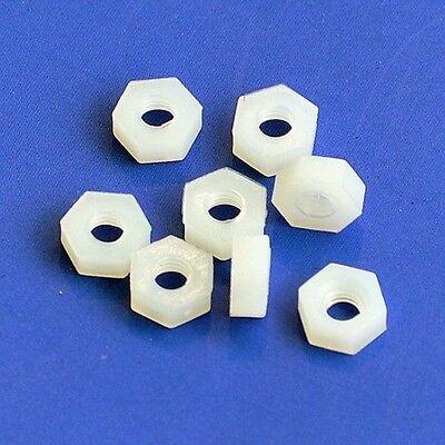 M3 Nylon Hex Nuts, x50