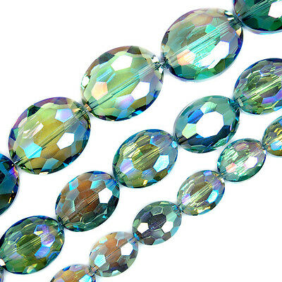 Faceted Green AB Czech Glass Flat Oval Beads Pick Size 9x12,12x16,16x20mm