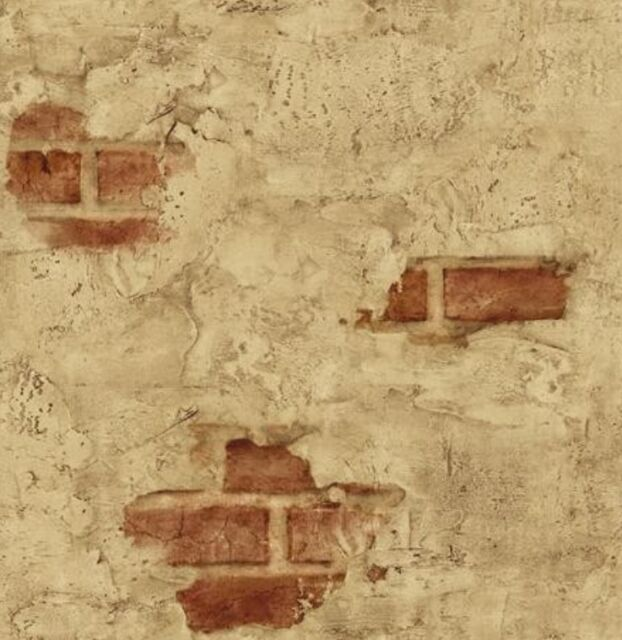 Wallpaper Designer Tuscan Tan Stucco Wall with Red Exposed Brick
