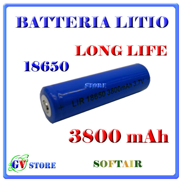 Batteria Pila Ricaricabile Litio 18650  3800mah 3,7v Torcia Softair