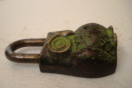 5051 Lock with Key ANTIQUE Style OWL Type Padlock Brass Made Black Style