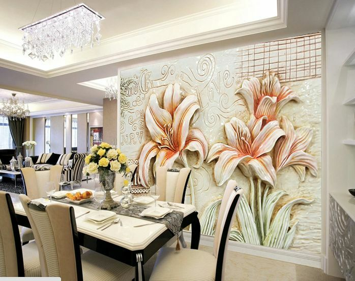 3D Rosa Lily Relief Paper Paper Paper Wall Print Wall Decal Wall Deco Indoor Murals Wall 0310dd