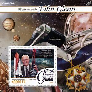Inventif Senator John Glenn Nasa Astronaut Space 1v Stamp Sheet #2 (2016 Guinea) Facile à Lubrifier