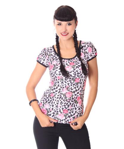 Liquor Brand Girl Doll Floral Leo Puffärmel Rockabilly T-Shirt
