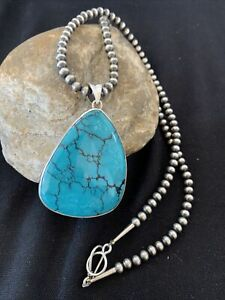 Mens-Navajo-Pearls-Sterling-Silver-Blue-SpiderWeb-Turquoise-Necklace-Pendant-883
