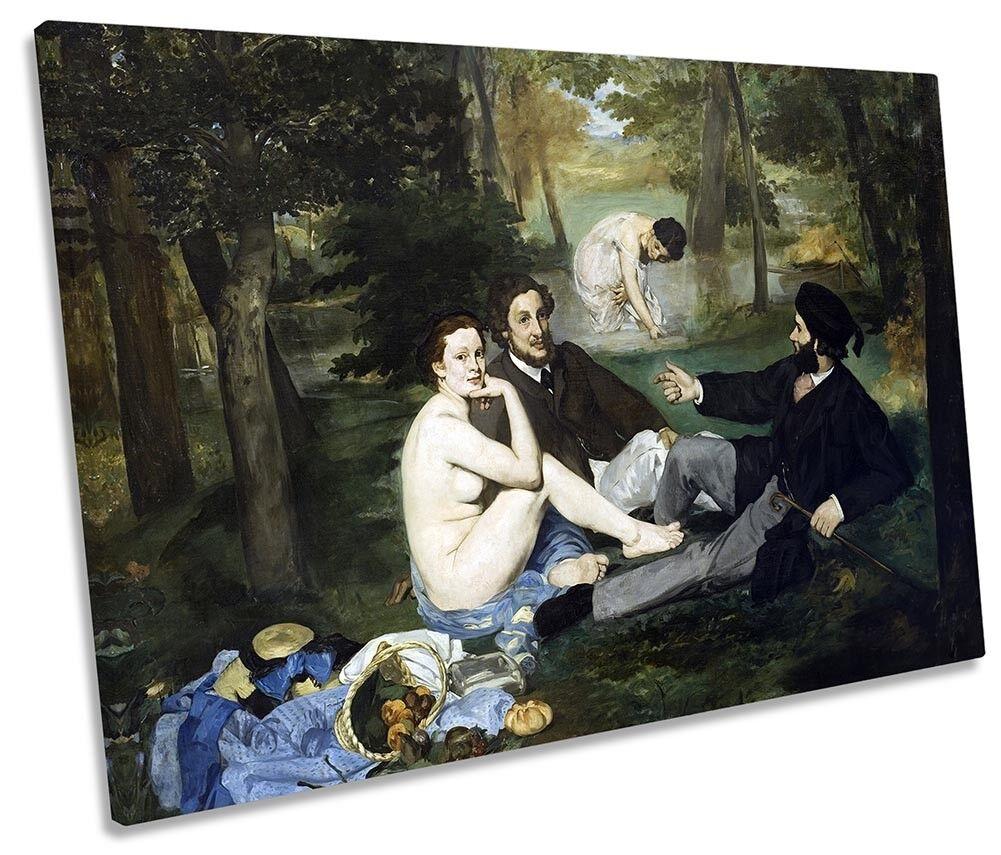Edouard MANET COLAZIONE SULL'ERBA QUADRO TELA singola Wall Art Print