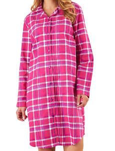 4f850f714d Image is loading Checked-Nightshirt-Womens-Slenderella-Brushed-Cotton-Long- Sleeved-