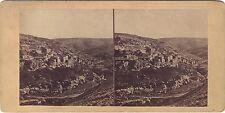 Village Siloam and Valley Kedron Palestine Israël Stéréo Vintage Albumine 1865