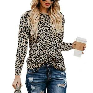 Shirt Leopard Print T-Shirt Top Ladies Casual Blouse Pullover Womens Long Sleeve