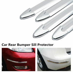 4X-Voiture-Universelle-Pare-chocs-arriere-Sill-Body-Guard-Protecteur-caoutchouc-Trim-Strip-Chrome