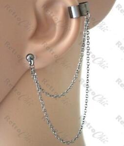 BALL STUD & CHAINS EAR CUFF chain earcuff earring GOTH ...