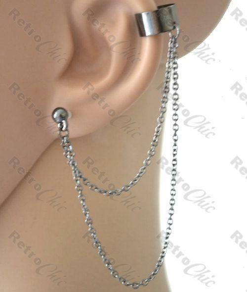 Ball Stud Chains Ear Cuff Chain Earcuff Earring Goth Earrings Gunmetal Black Ebay