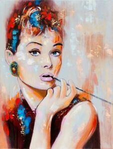 large hand painted acrylic canvas wall art audrey hepburn 120 x 90
