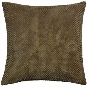 FILLED-THICK-SOFT-CHENILLE-SPOT-DOT-BROWN-CUSHION-17-034-43CM