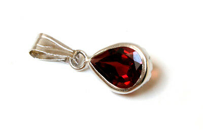 9ct White Gold Garnet Pendant Necklace no chain Made in UK Gift Boxed