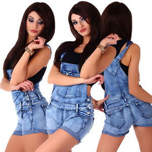 5916 damen latzhose hotpants jeans shorts kurze hose jeanslatzhose ebay. Black Bedroom Furniture Sets. Home Design Ideas