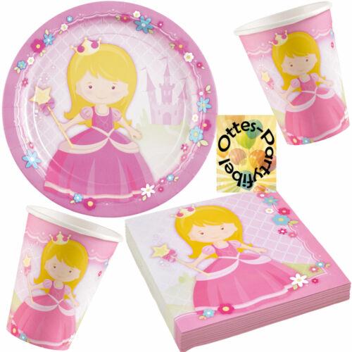 Prinzessinparty My Princess-Party-Set 52tlg für 16 Gäste Teller Becher Serv.