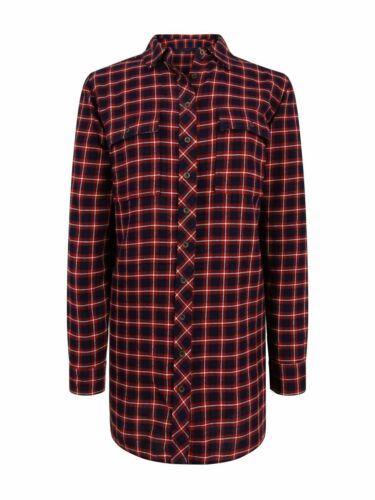 New Ex Fat Face Ladies Long Checked Shirt Size 8-16 Casual Blue /& Red