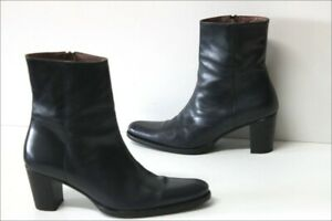 MURATTI-Bottines-Boots-Pointues-Cuir-Bleu-Petrole-Doublees-Cuir-T-40-TTBE