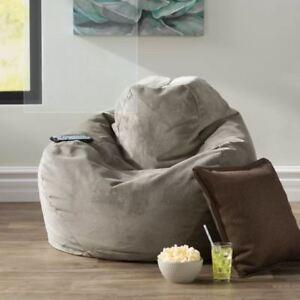 Bean Bag Comfy Chair Dorm Teen Kids Room Lounger Large Big Foam Microfiber Gray