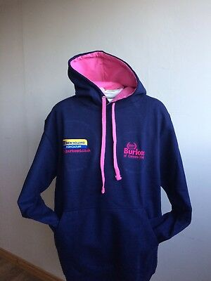 NEW HOLLAND HOODIE NAVY WITH PINK INNER HOOD AND PINK DRAW STRINGS