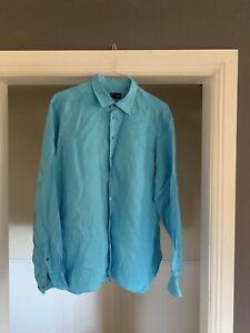 Giorgio-Armani-Light-Blue-Linen-Shirt-Size-17-Retail-590