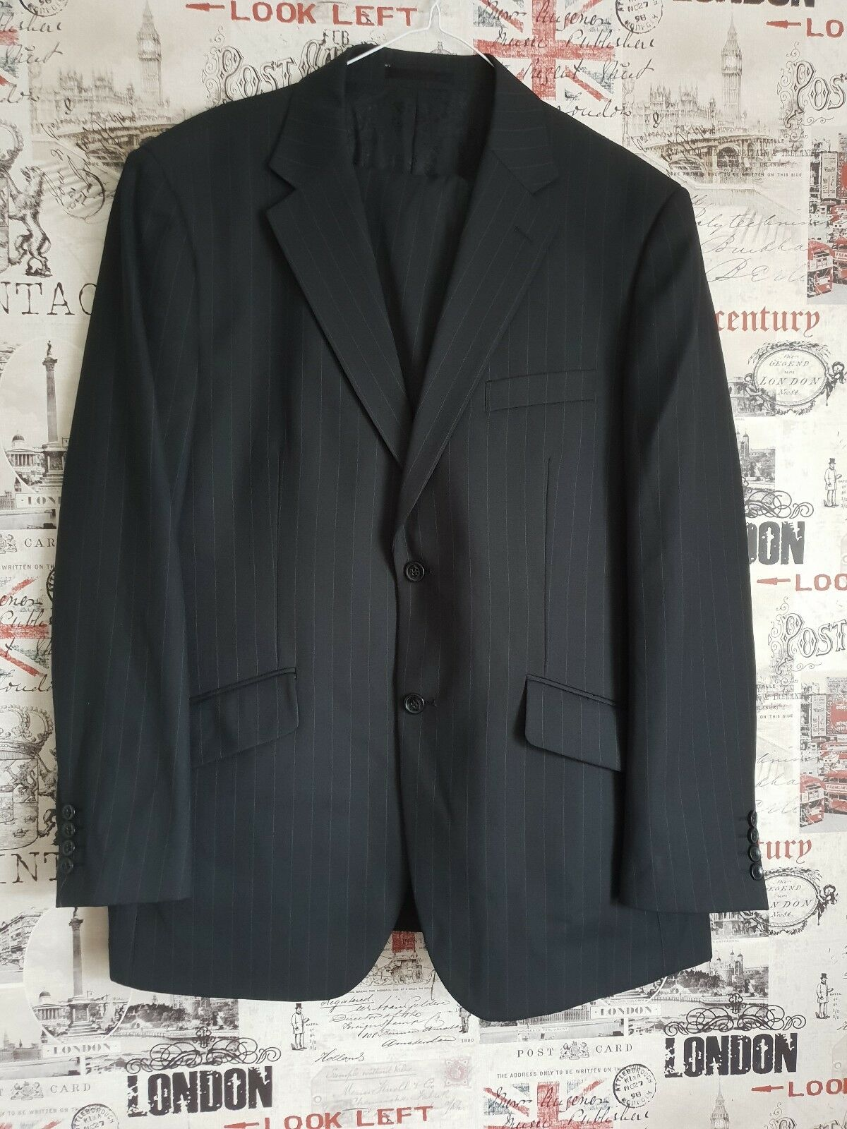 Milan Collection Made in  Grey Striped Suit Size 44 chest 38 waist 30 in