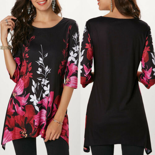 Women Casual O-Neck Floral Printed Three Quarter Sleeve Tops Blouse Comfy Shirt