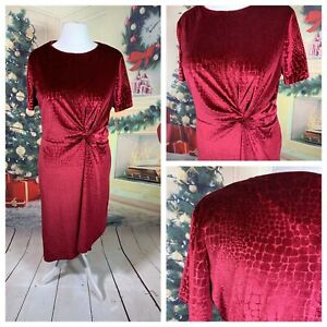 TU-WOMAN-Ladies-Wine-Red-Dress-Size-18-Velvet-Stretchy-Party-Cruise-NEW-NWT