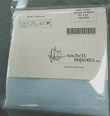 Wichelt Permin Premium AIDA Cross Stitch Fabric 14 Count Blueberry 18 x 25