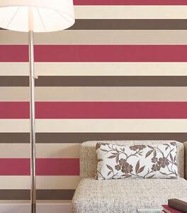 g23139 breite streifen rot creme pilz braun tapete galerie ebay. Black Bedroom Furniture Sets. Home Design Ideas