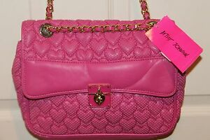 NEW NWT Betsey Johnson ALWAYS BE MINE Pink Quilted Heart Shoulder