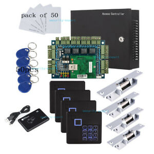Security & Protection Control Card Readers Smart Four Door Rs485 Access Control Board Support 4 Rfid Reader And 4pcs Exit Push Button