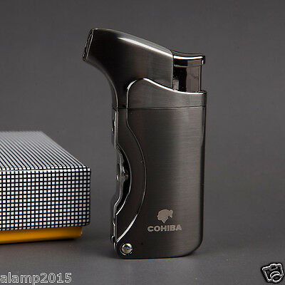 COHIBA CHROME METAL WIND-PROOF 1 TORCH JET FLAME CIGAR CIGARETTE LIGHTER 2 PUNCH